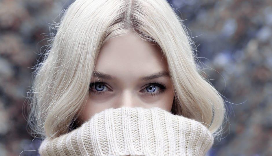 white woman white hair blue eyes